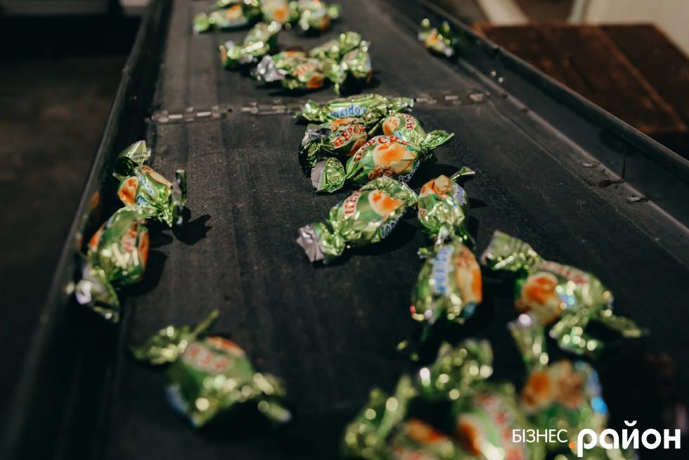 По лінії цукерки вже в обгортці їдуть на фасування